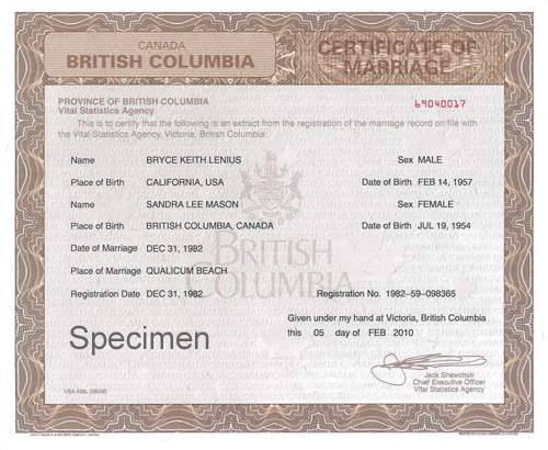 British Columbia certificate of marriage